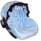 Blue Minky Dots Infant Car Seat Cover