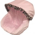 Baby Pink Minky With Cheetah Ruffle Infant Car Seat Cover
