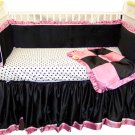 Black & Pink Minky Dots Crib Bedding Set