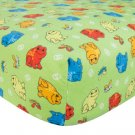 Frog Print Flannel Crib Sheet