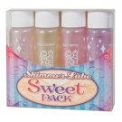 SWEET PACK SHIMMER LUBE 4 PKAPPLE-BOYSENBERRY-PINK CHAMPAGNE- PINA COLADA