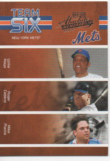 05 Absolute Memorabilia Team Six Mets Mays Cedeno Piazza Ventura Alfonso Payton 058/100