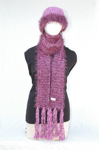 "Handmade ""pink/purple"" Scarf/Hat Set"