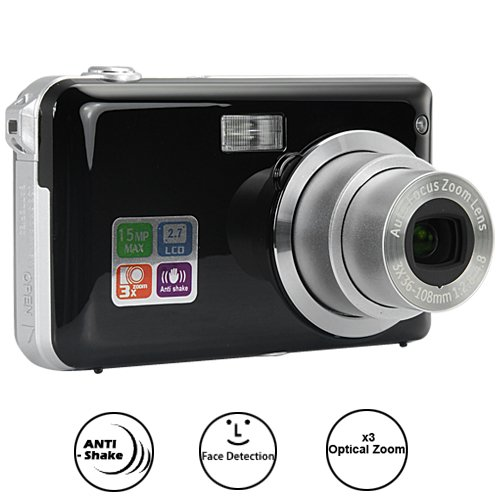 5MP 30fps Digital Camera w/ x3 Optical Zoom, Face Detection