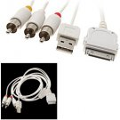 Composite AV Cable with USB for Apple iPhone 3G and iPod White and 1.3m