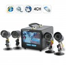 H.264 Mini DVR System - 4 IR Security Cameras and Portable 7 inch Monitor