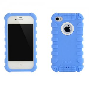 HOCO iPhone 4 /4S Protector Case - Shockproof Crashproof Silicone Back Cover - Blue