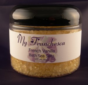 My Franchesca French Vanilla Bath Sea Salts in a 6oz Jar