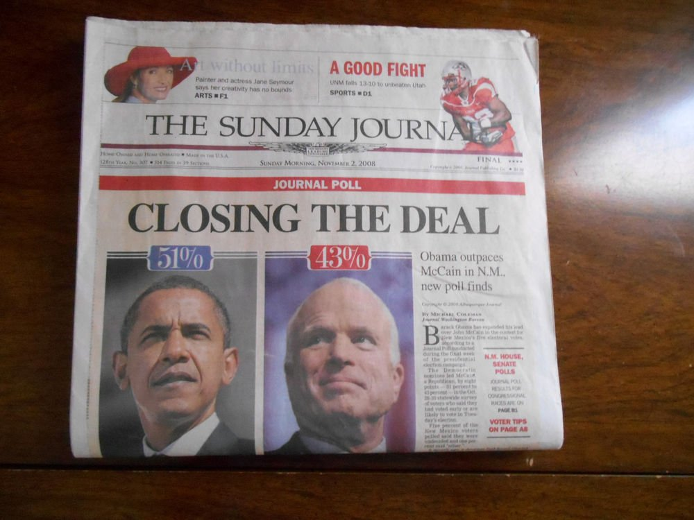 Complete Albuquerque Sunday Journal sunday before election for Obama President
