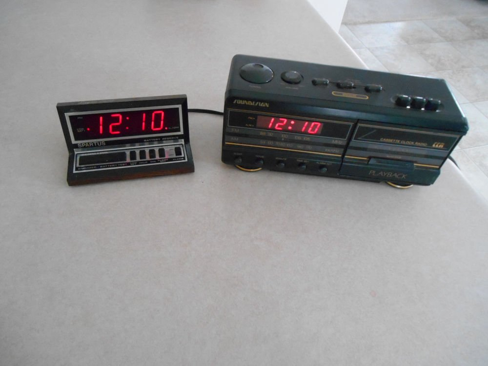 Lot of 2 alarm clocks Red LED display with built in Cassette player