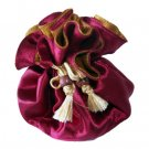 Thai Silk Jewelry Bag Red & Gold Med Size