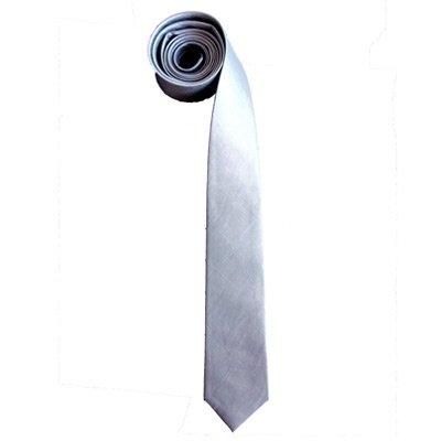 Thai Silk Skinny Necktie Silver Grey Color