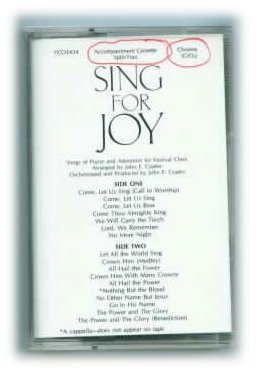 SING FOR JOY Choral Collection Split Track Accompaniment Tape