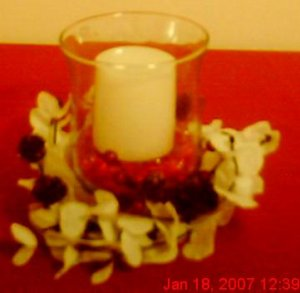 6in Glass Vase With Red & White Berry Candle Holder