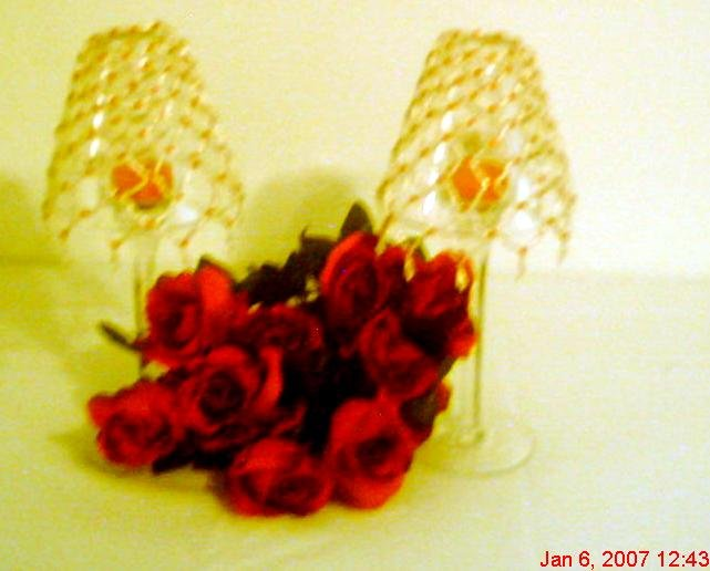 Red and White Beaded Candle Holder