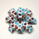 Blue and Brown Polka Dot Bitty Baby Bow