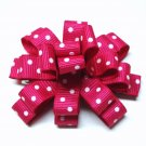 Bitty Baby Bow- Hot pink and white polka dot
