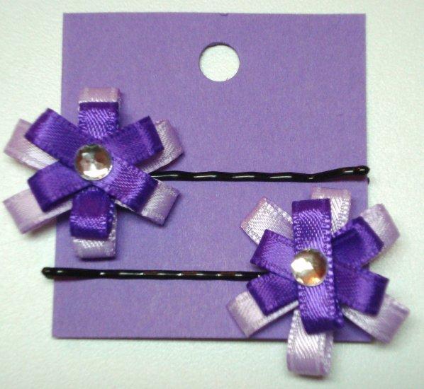 Ribbon Flower Hair Pins