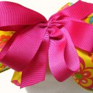 Pink Flowered Piggyback Bow