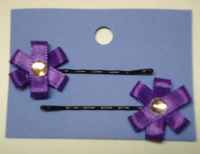 Ribbon Flower Hair Pins- Purple