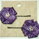 Ribbon Flower Hair Pins-Purple and white