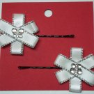 Ribbon Flower Hair Pins-white sparkle