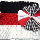 Bitsy Ruffle Ribbon- Red black and white