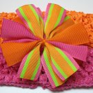 Bitsy Ruffle Ribbon- Bright orange and pink