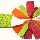 Dazzle Ruffle Ribbon- Pink and Orange Polka Dot Green White and Orange