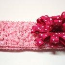 Bitty Baby Bow Headband- Hot pink and white polka dot