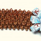 Bitty Baby Bow Headband- Brown Blue and White