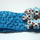 Bitty Baby Bow Headband- Blue and Brown Polka Dot