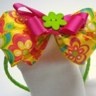 Piggyback Bow Headbands-Pink and yellow flowers