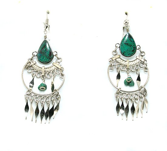Green Turquoise & Silver Chandelier Earrings