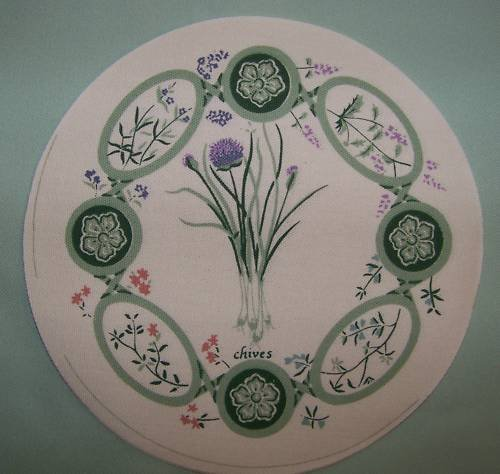 15  EIGHT INCH ROUND POTHOLDER PANELS CHIVES