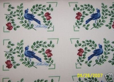 ONE FABRIC PANEL,6 SETS OF OVEN MITTS TOPS DELFT BIRDS