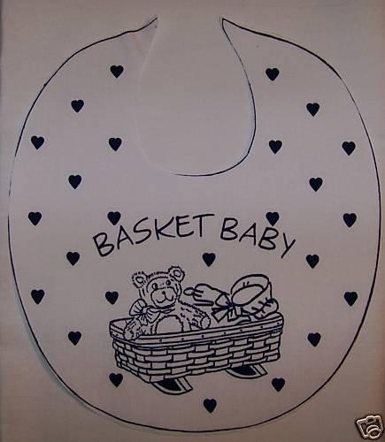 "10 NEW BABY BIBS BIB PANELS BASKET BABY BLUE 10.5"" X 9"""