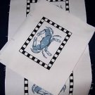 GIFT BAG SEWING PROJECT,10 BLUE CRAB FABRIC PANELS