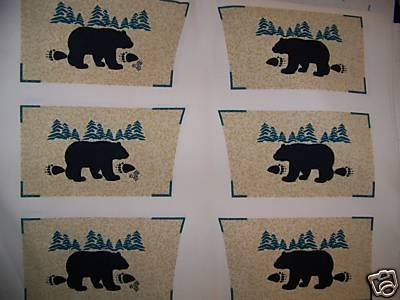 ONE FABRIC PANEL,6 SETS OF OVEN MITTS TOPS BLACK BEAR