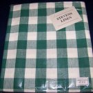 """Green gingham check 52"""" X 70"""" woven tablecloth"""