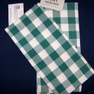 2 Green gingham check kitchen towels matches tablecloth