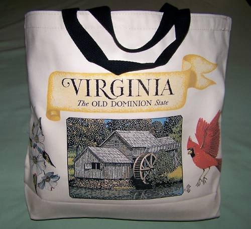 TOTE BAG LINED   NEW VIRGINIA CARDINAL DOGWOOD