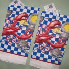 2  NWT LOBSTER DINNER LOBSTERS LINEN KITCHEN TOWELS