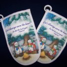 2 NEW God's blessings warm the heart  OVEN MITTS