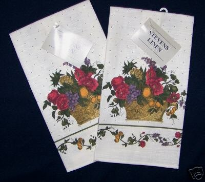 2  NWT FRUITS & FLOWERS LINEN KITCHEN TOWELS