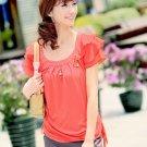 Leveled Sleeve Chiffon T-shirt Red