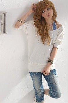 One-shoulder Half Sleeve T-Shirt White