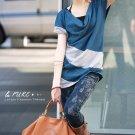 Long Neck Style Multi-Collar T-Shirt Blue