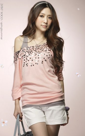 Big Round Collar Sequin T-Shirt Pink