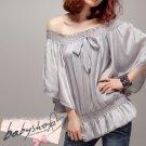 Soft Silk Butterfly Sleeve T-Shirt Grey